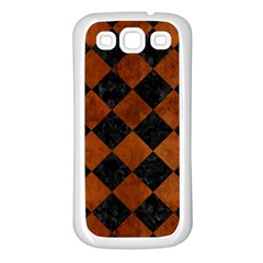 Square2 Black Marble & Brown Burl Wood Samsung Galaxy S3 Back Case (white)