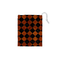 Square2 Black Marble & Brown Burl Wood Drawstring Pouch (xs)