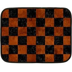 Square1 Black Marble & Brown Burl Wood Double Sided Fleece Blanket (mini)