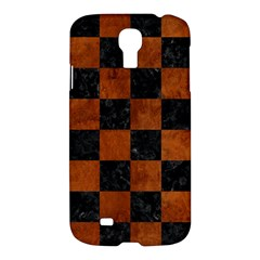 Square1 Black Marble & Brown Burl Wood Samsung Galaxy S4 I9500/i9505 Hardshell Case