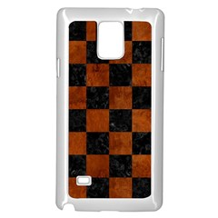 Square1 Black Marble & Brown Burl Wood Samsung Galaxy Note 4 Case (white)