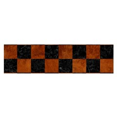 Square1 Black Marble & Brown Burl Wood Satin Scarf (oblong)