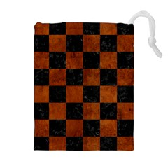 Square1 Black Marble & Brown Burl Wood Drawstring Pouch (xl)