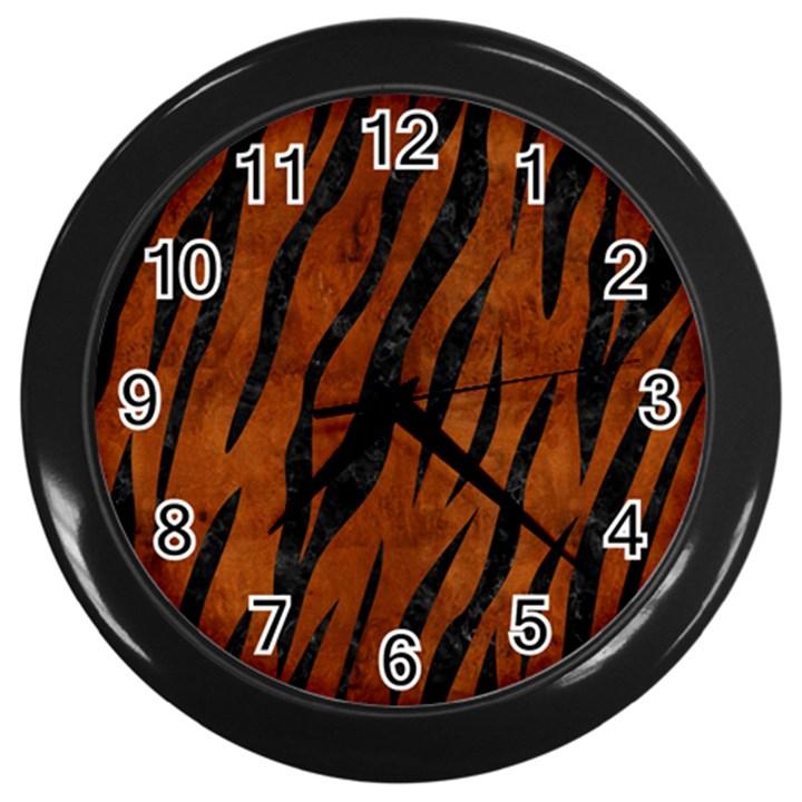 SKIN3 BLACK MARBLE & BROWN BURL WOOD (R) Wall Clock (Black)