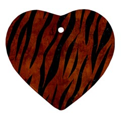 Skin3 Black Marble & Brown Burl Wood (r) Heart Ornament (two Sides)