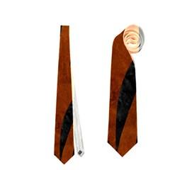 Skin3 Black Marble & Brown Burl Wood (r) Necktie (one Side)