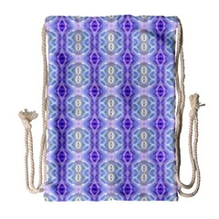 Light Blue Purple White Girly Pattern Drawstring Bag (large)