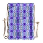 Light Blue Purple White Girly Pattern Drawstring Bag (Large) Back