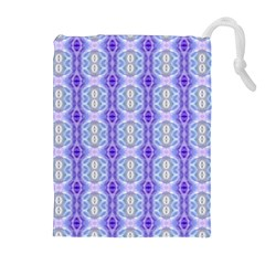 Light Blue Purple White Girly Pattern Drawstring Pouches (extra Large)