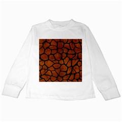 Skin1 Black Marble & Brown Burl Wood Kids Long Sleeve T Shirt