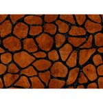 SKIN1 BLACK MARBLE & BROWN BURL WOOD Clover 3D Greeting Card (7x5) Front