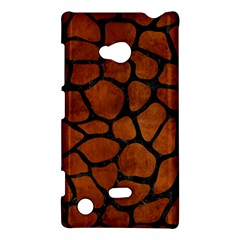 Skin1 Black Marble & Brown Burl Wood Nokia Lumia 720 Hardshell Case