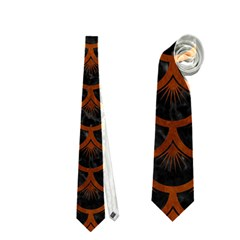 Scales3 Black Marble & Brown Burl Wood Necktie (one Side)