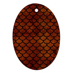 Scales1 Black Marble & Brown Burl Wood (r) Ornament (oval)