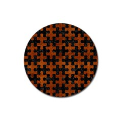 Puzzle1 Black Marble & Brown Burl Wood Magnet 3  (round)