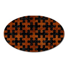 Puzzle1 Black Marble & Brown Burl Wood Magnet (oval)
