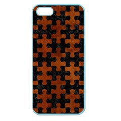 Puzzle1 Black Marble & Brown Burl Wood Apple Seamless Iphone 5 Case (color)