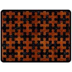 Puzzle1 Black Marble & Brown Burl Wood Double Sided Fleece Blanket (large)