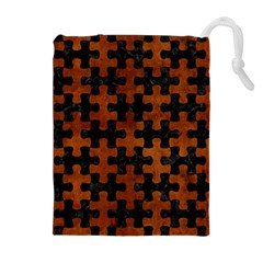Puzzle1 Black Marble & Brown Burl Wood Drawstring Pouch (xl)