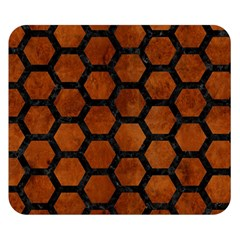 Hexagon2 Black Marble & Brown Burl Wood (r) Double Sided Flano Blanket (small)