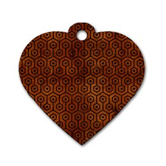 Hexagon1 Black Marble & Brown Burl Wood (r) Dog Tag Heart (two Sides)