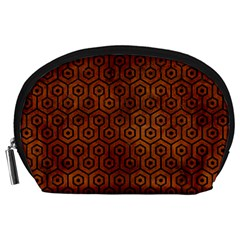 Hexagon1 Black Marble & Brown Burl Wood (r) Accessory Pouch (large)