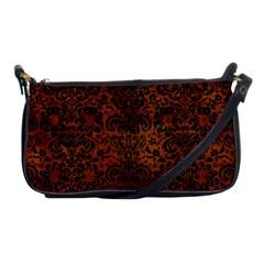 Damask2 Black Marble & Brown Burl Wood (r) Shoulder Clutch Bag