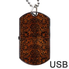 Damask2 Black Marble & Brown Burl Wood (r) Dog Tag Usb Flash (one Side)