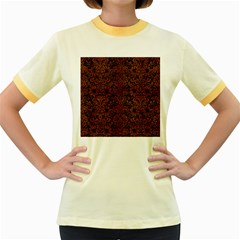 Damask2 Black Marble & Brown Burl Wood Women s Fitted Ringer T Shirt