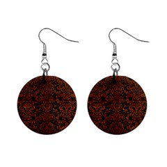Damask2 Black Marble & Brown Burl Wood 1  Button Earrings