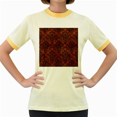 Damask1 Black Marble & Brown Burl Wood (r) Women s Fitted Ringer T Shirt