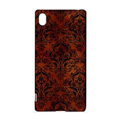 Damask1 Black Marble & Brown Burl Wood (r) Sony Xperia Z3+ Hardshell Case