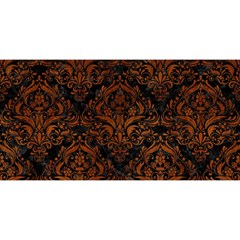 Damask1 Black Marble & Brown Burl Wood You Are Invited 3d Greeting Card (8x4)
