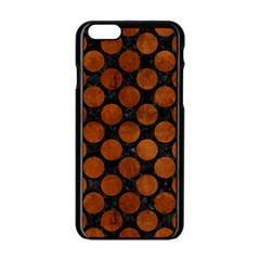 Circles2 Black Marble & Brown Burl Wood Apple Iphone 6/6s Black Enamel Case
