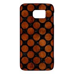 Circles2 Black Marble & Brown Burl Wood Samsung Galaxy S6 Hardshell Case