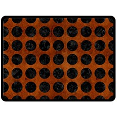 Circles1 Black Marble & Brown Burl Wood (r) Double Sided Fleece Blanket (large)