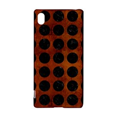 Circles1 Black Marble & Brown Burl Wood (r) Sony Xperia Z3+ Hardshell Case