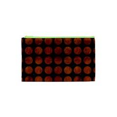 Circles1 Black Marble & Brown Burl Wood Cosmetic Bag (xs)