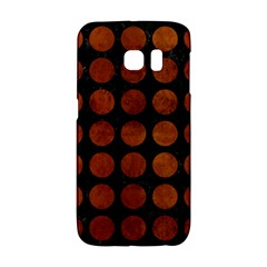 Circles1 Black Marble & Brown Burl Wood Samsung Galaxy S6 Edge Hardshell Case
