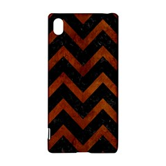 Chevron9 Black Marble & Brown Burl Wood Sony Xperia Z3+ Hardshell Case