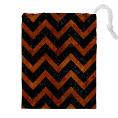 Chevron9 Black Marble & Brown Burl Wood Drawstring Pouch (xxl)