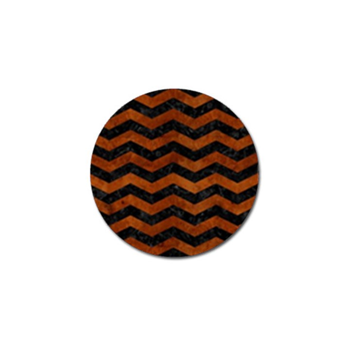 CHEVRON3 BLACK MARBLE & BROWN BURL WOOD Golf Ball Marker (4 pack)