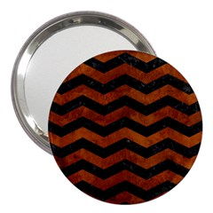 Chevron3 Black Marble & Brown Burl Wood 3  Handbag Mirror