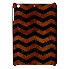 Chevron3 Black Marble & Brown Burl Wood Apple Ipad Mini Hardshell Case