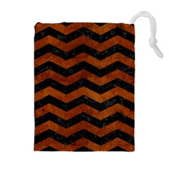 Chevron3 Black Marble & Brown Burl Wood Drawstring Pouch (xl)
