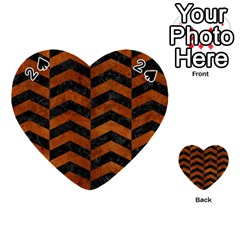 Chevron2 Black Marble & Brown Burl Wood Playing Cards 54 (heart)