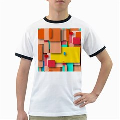 Rounded Rectangles Ringer T Shirts