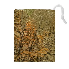 Floral Grunge Drawstring Pouches (extra Large)