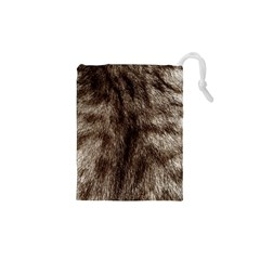 Black and White Silver Tiger Fur Drawstring Pouches (XS)