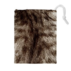 Black and White Silver Tiger Fur Drawstring Pouches (Extra Large)